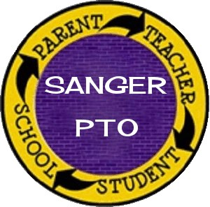 Round purple and gold circle with Sanger PTO on it.