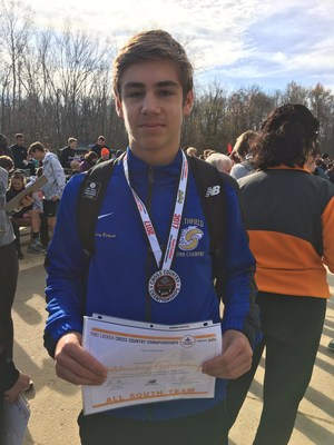 Johnny Babyak earns freshmen ALL-SOUTH REGION recognition for his finish at the Foot Locker South Regional in Charlotte, NC. The