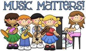 Music Matters  A group of five children playing on a trumpet, saxophone, clarinet, violin and piano