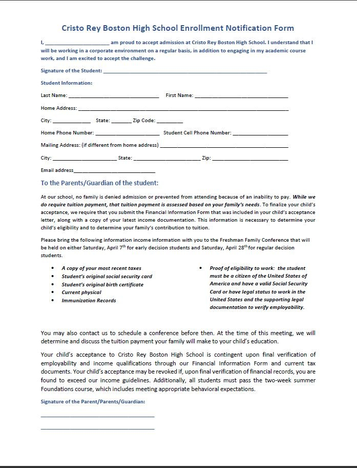 Enrollment Notification Form – Admissions – Cristo Rey High School ...
