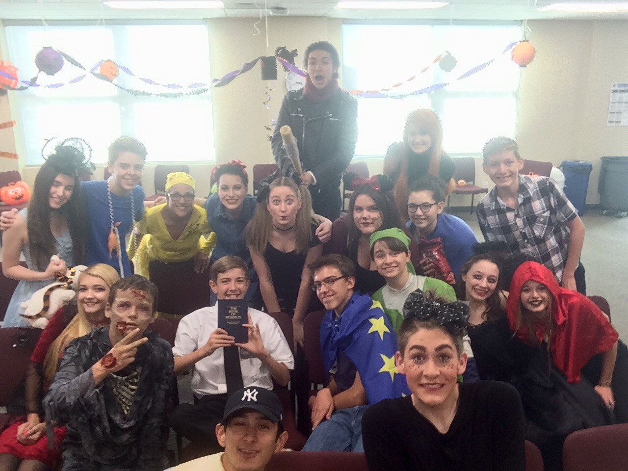 Photo of students in costumes at 2016 Halloween Party