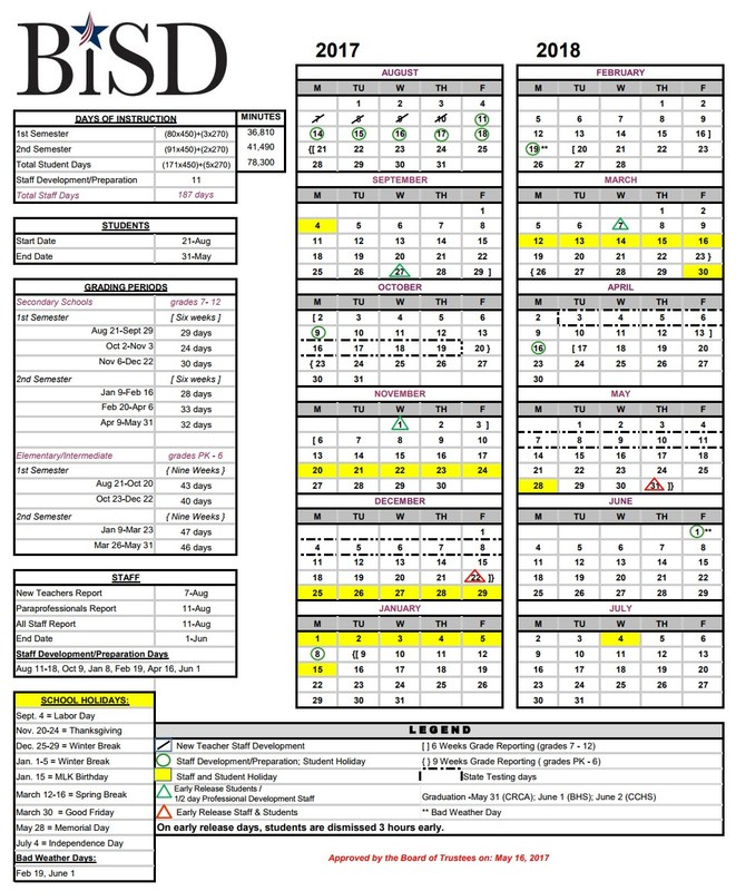 2017-18 school calendar image
