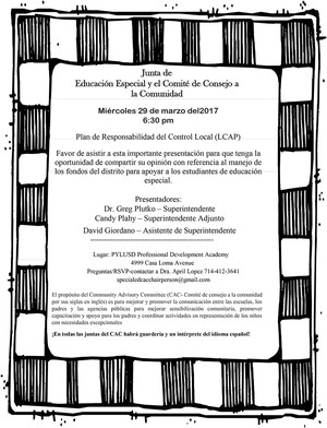 CAC March meeting flier in Spanish