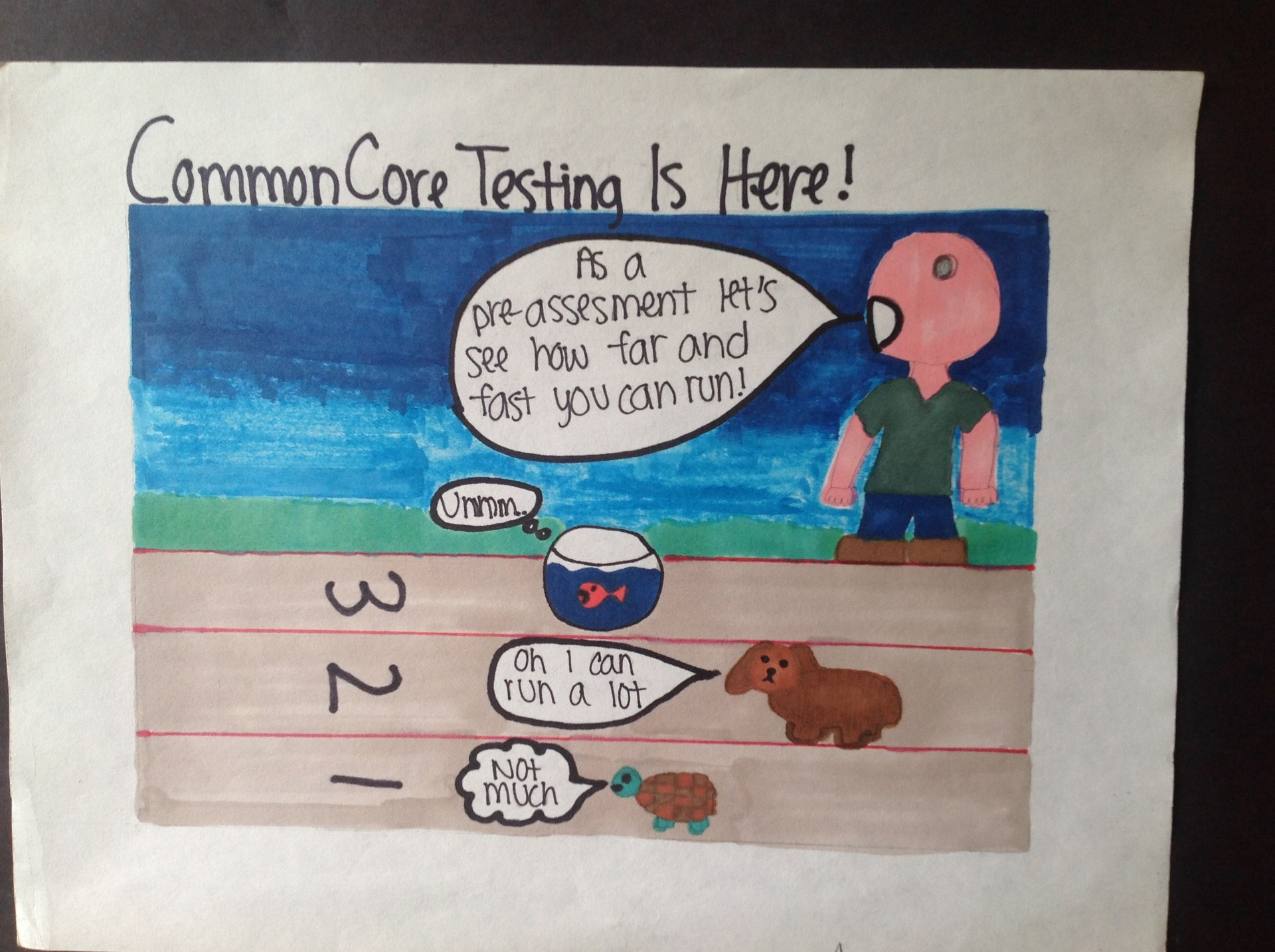 Political cartoon about common core testing. Race between turtle dog and fish