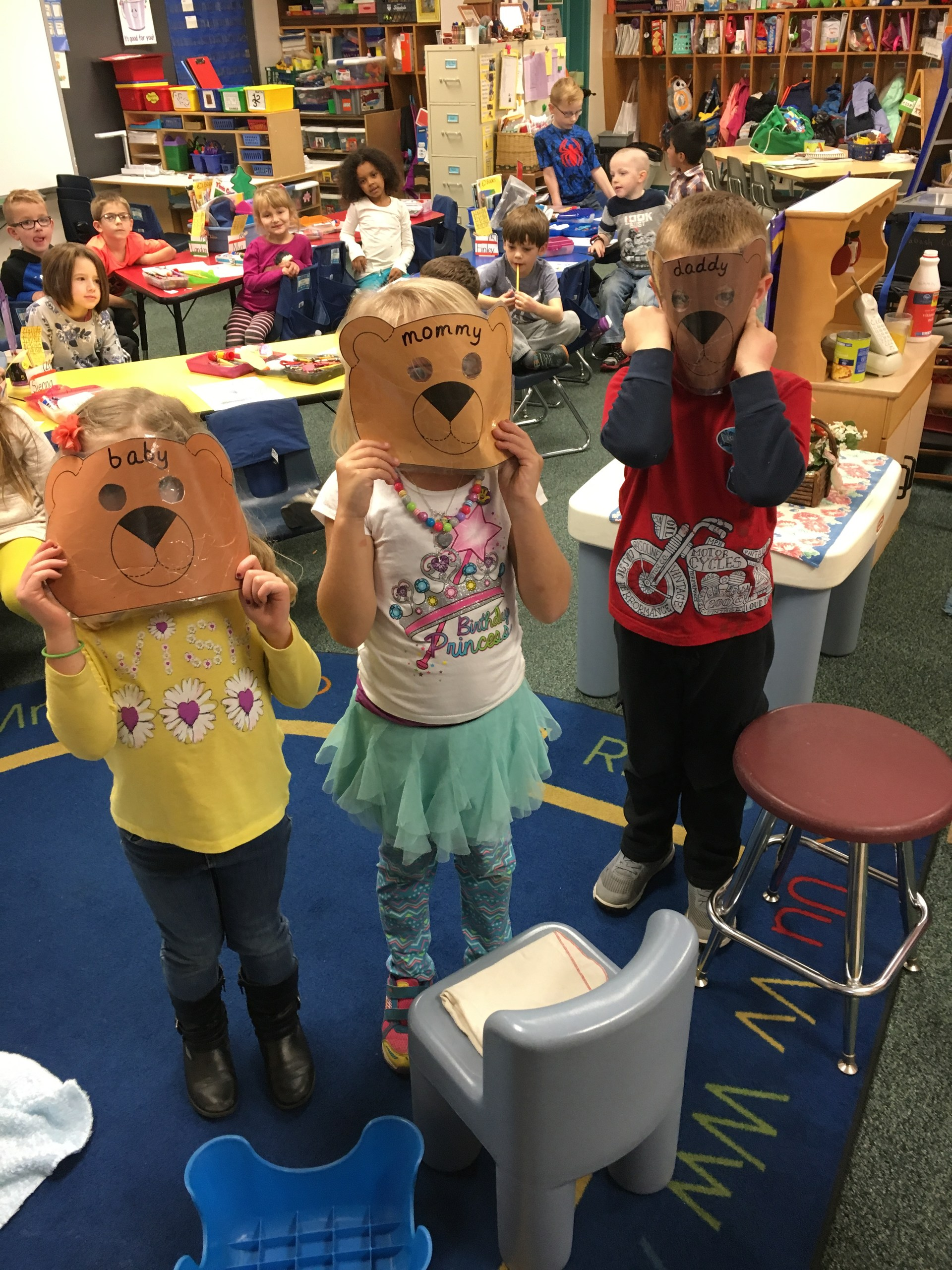Students with bear masks.