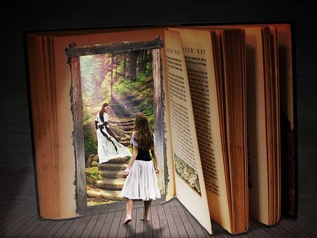 Girl Walking into a Book
