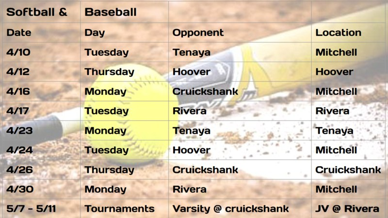 Softball and Baseball Schedule