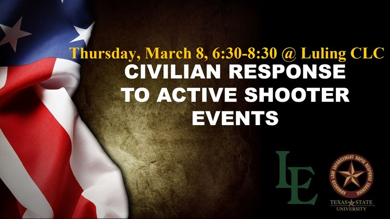 Civilian Response to Active Shooter Events (CRASE) Course - Thursday, March 8, 2018 from 6:30pm to 8:30pm Thumbnail Image