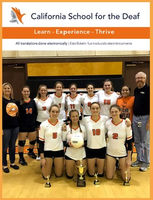 First page of Cal News - Learn, Experience, Thrive - Picture of volleyball team and their medals