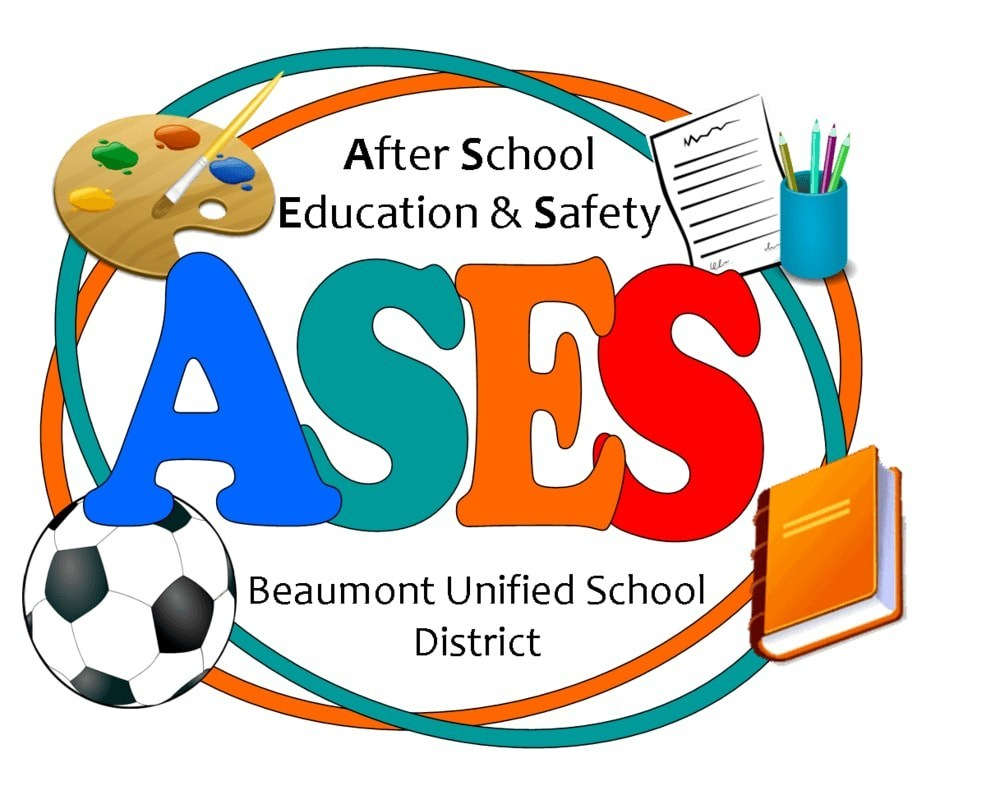 After School Education & Safety; ASES; Beaumont Unified School District Logo; paint Easel; paper and pencils; soccer ball; textbook