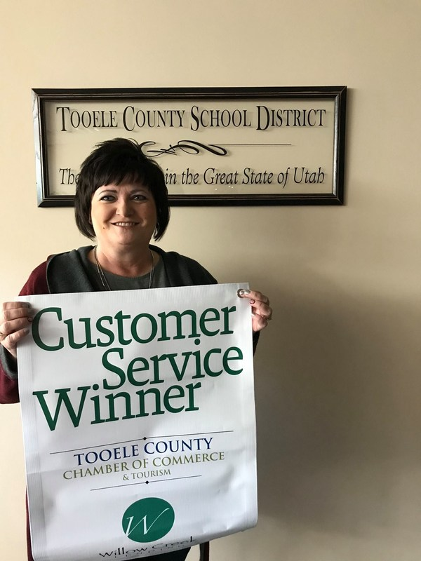 Georgette Shosted, Tooele County School District receptionist, is selected as the Customer Service Winner January 3rd, 2018.