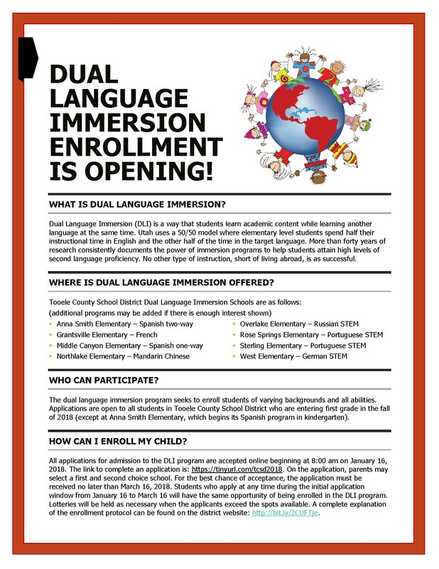 Dual Language Immersion application window opens Jan. 16 - March 16 Thumbnail Image