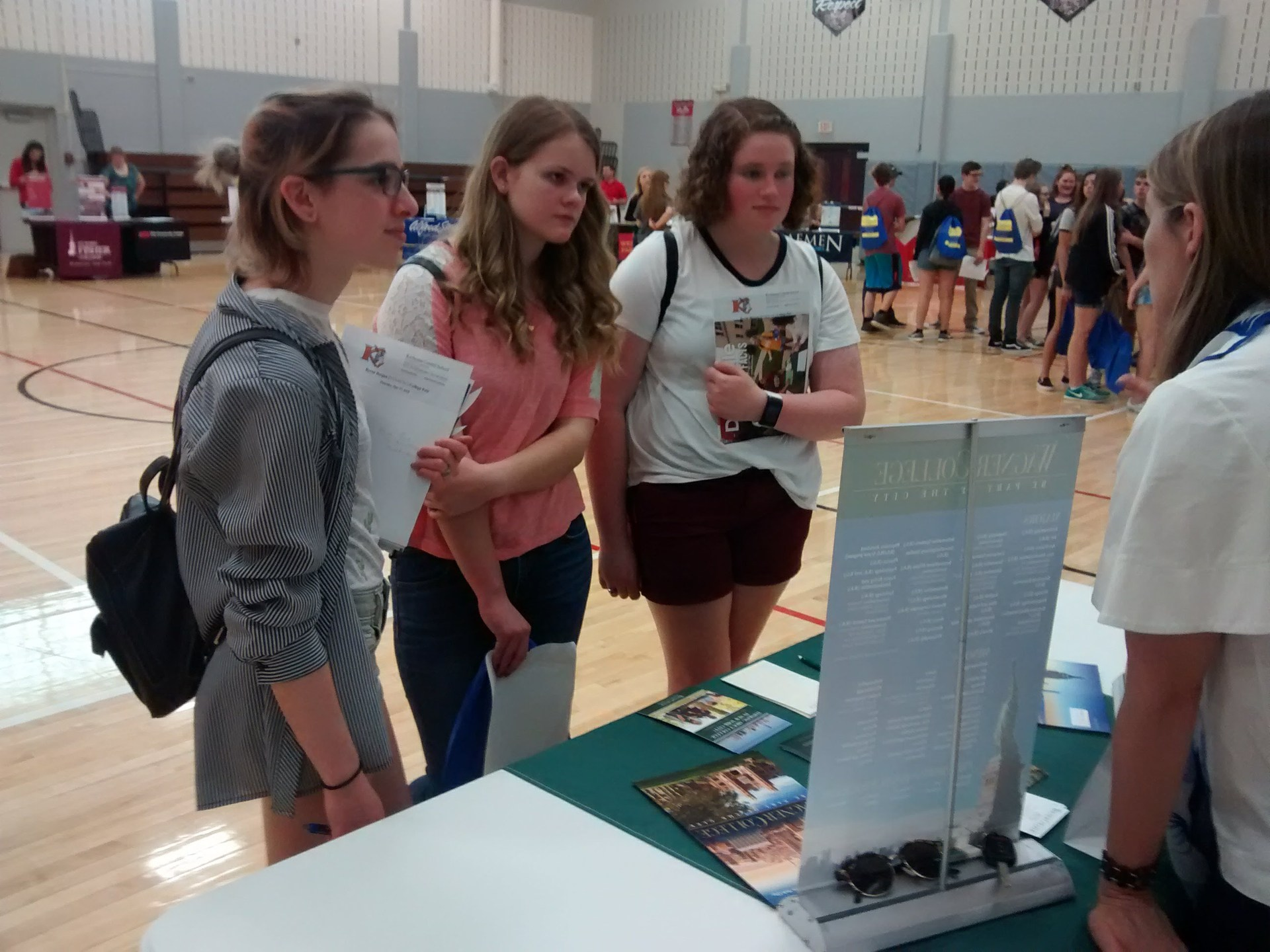 Kesh students talk to college reps at the Byron Bergen College Fair