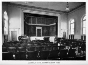View of the auditorium with stage and seating.