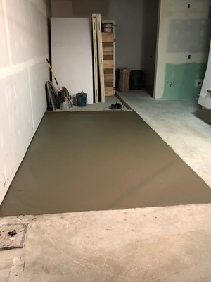 The slab for the walk-in refrigerator ready for more changes.