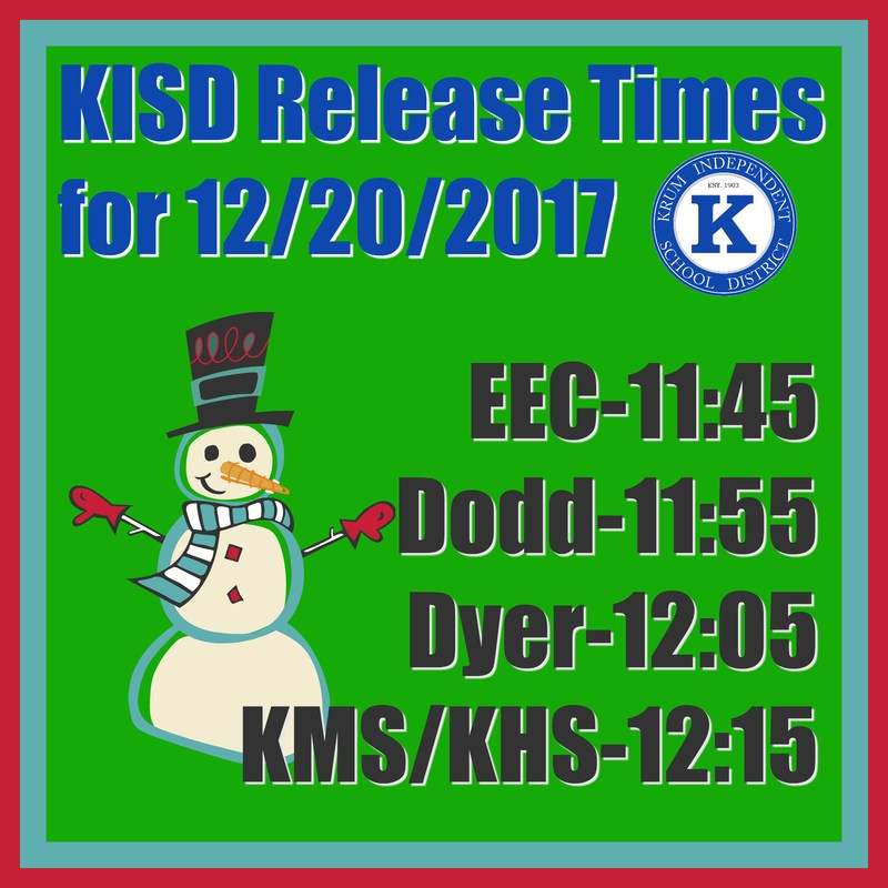 Campus Release Times for 12/20/17 Thumbnail Image