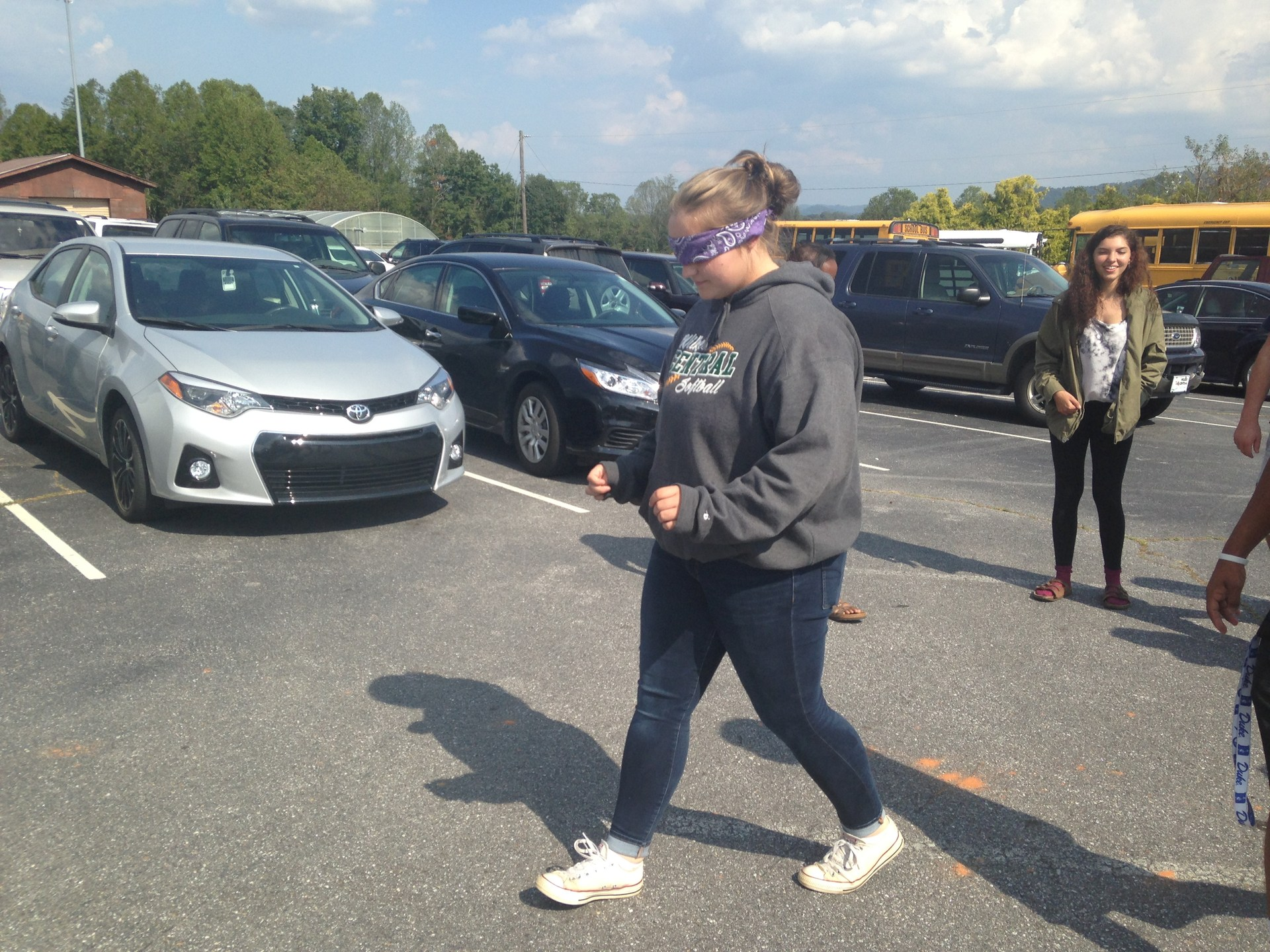 Students performing 'Trust Walk' at Wilkes Central High