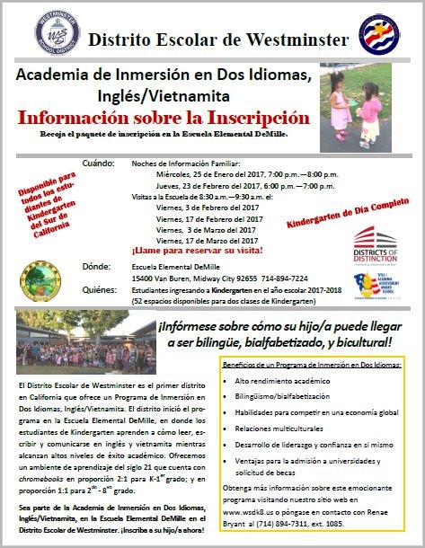Vietnamese Dual Immersion Registration Info 2017-Spanish