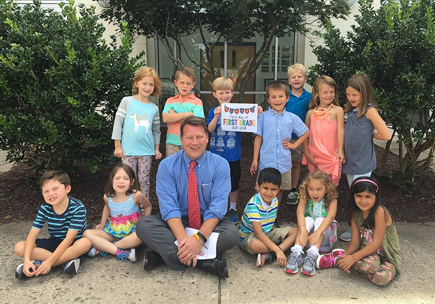head of school with first graders
