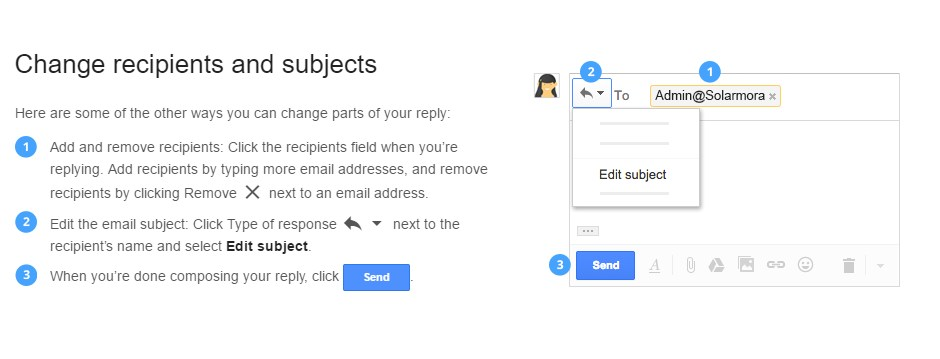 Changing Recipients and Subjects Screenshot