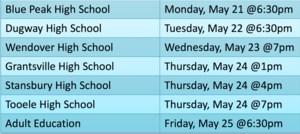 2018 graduation dates