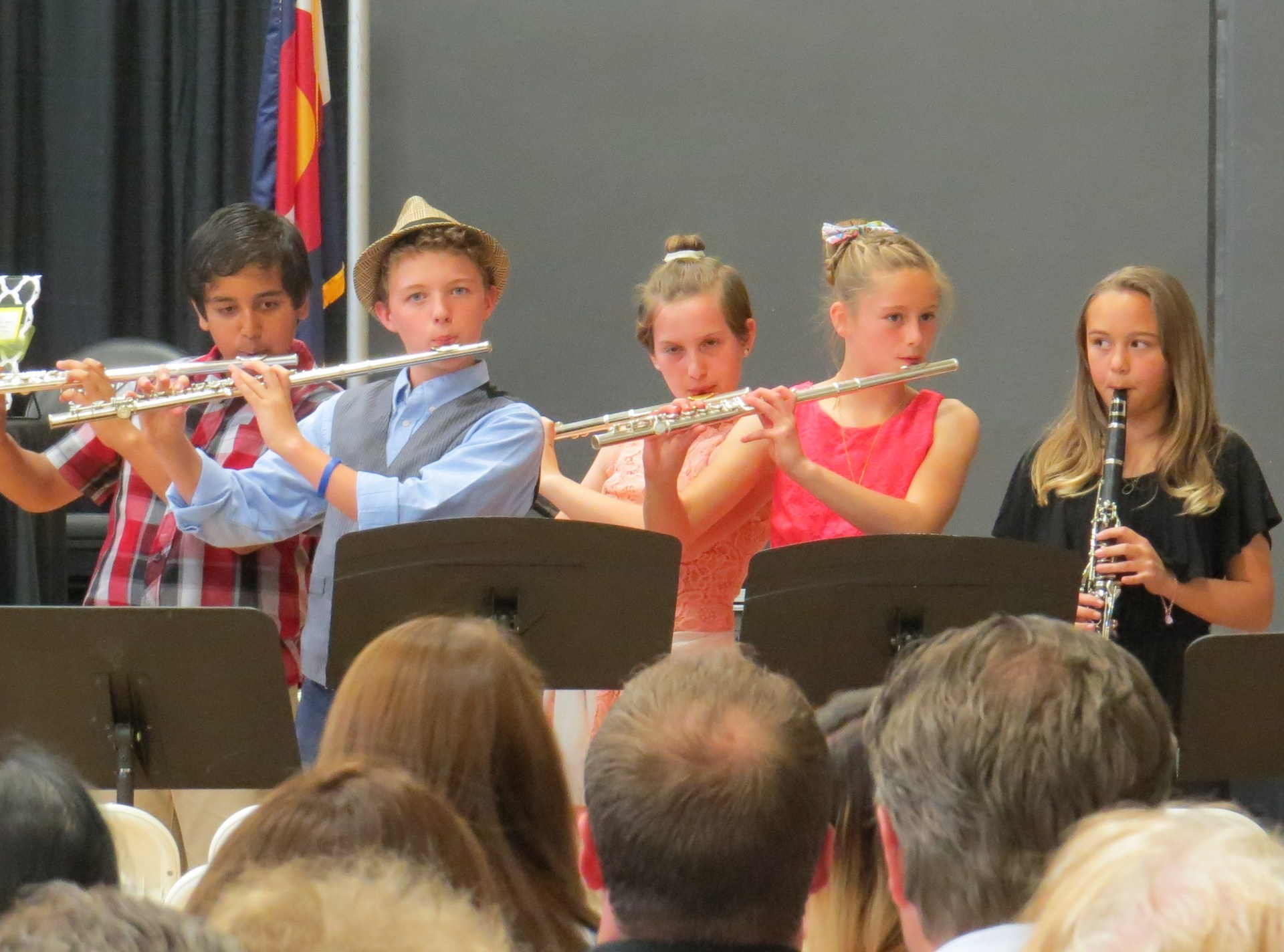 students play flutes and a clarinet