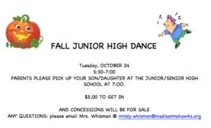 Fall Junior High Dance flyer