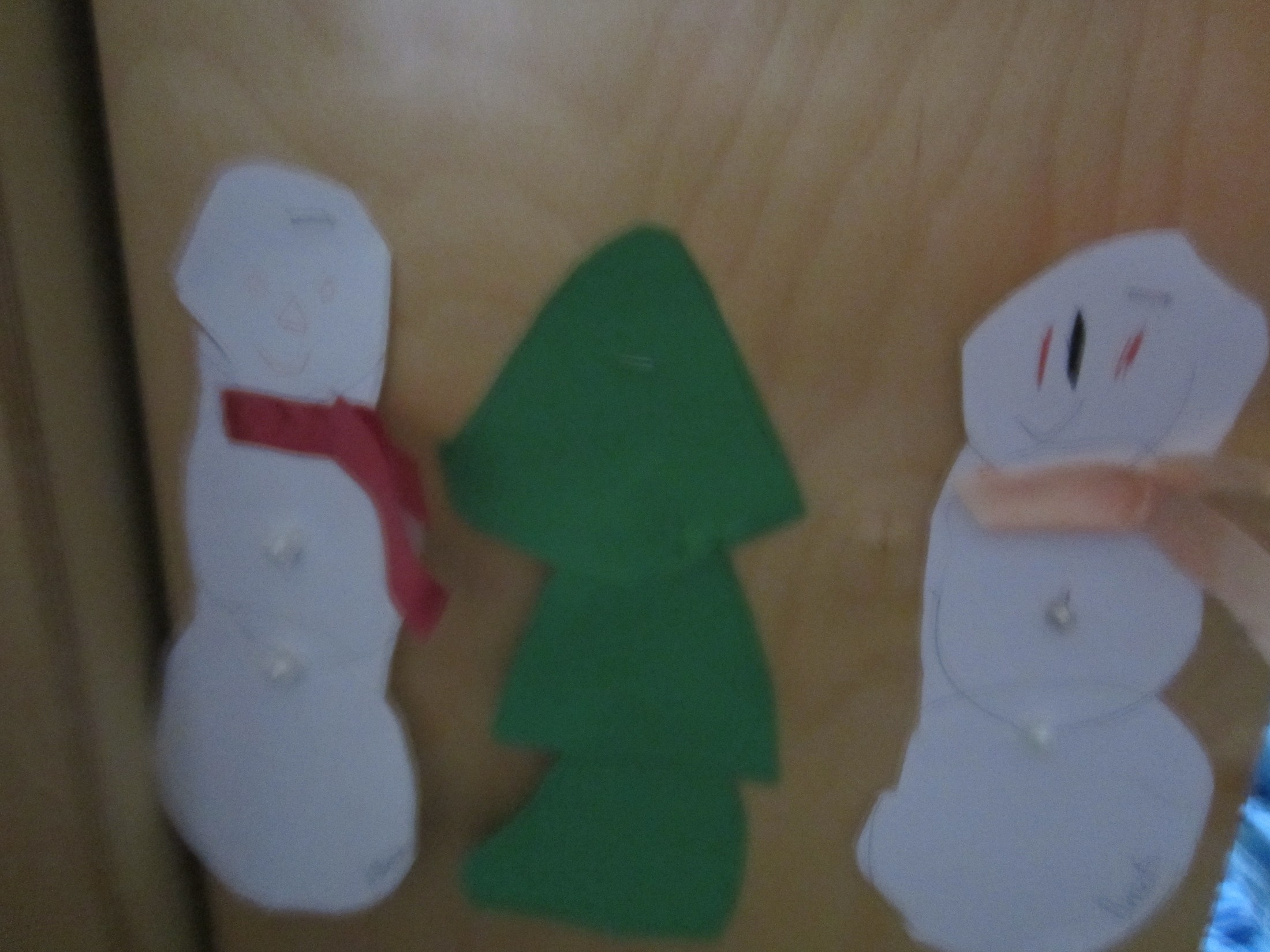 snowmen and pine tree art