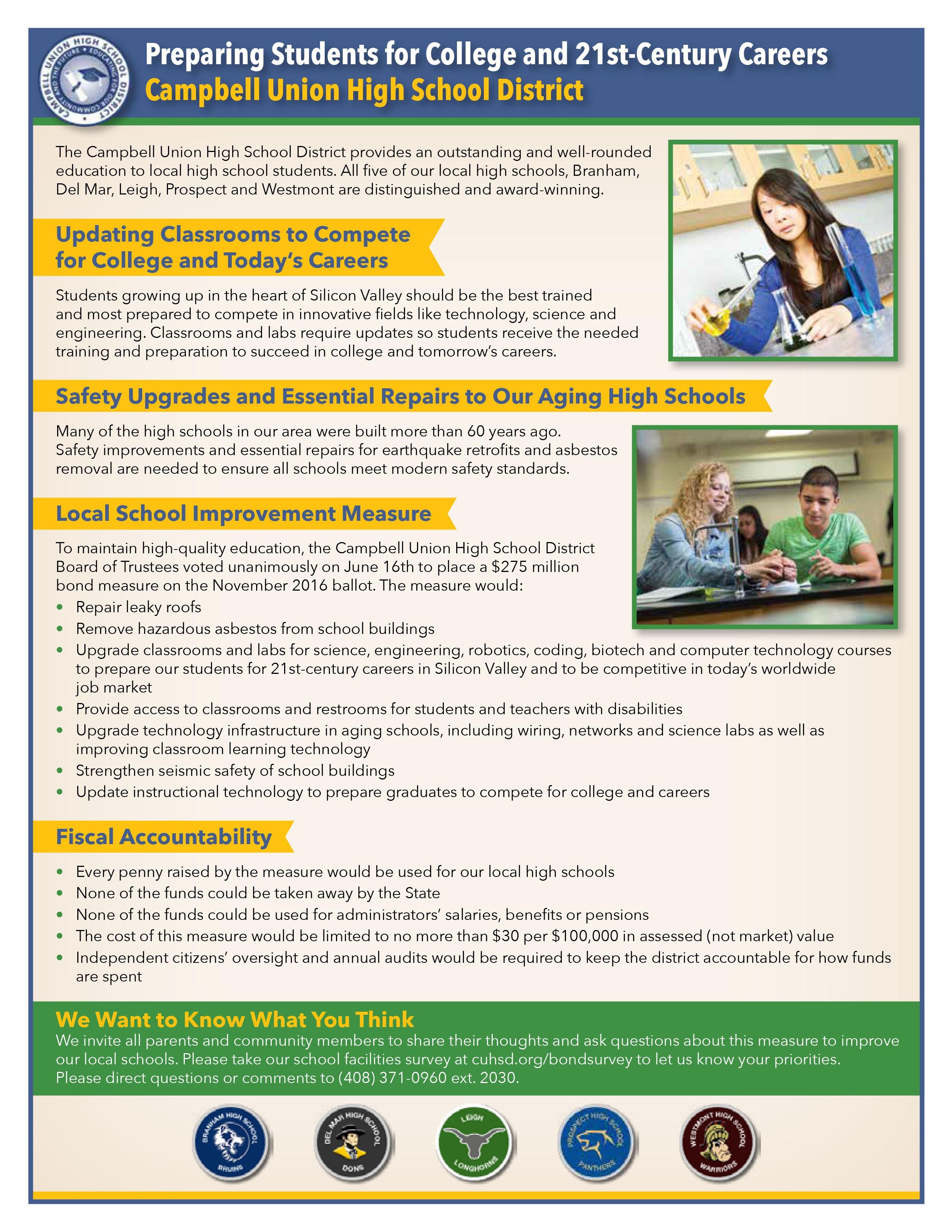 bond measure district departments campbell union high 2016 bond measure district departments campbell union high school district