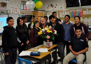 Holland Middle School teacher Terri L. Armstrong is congratulated by students after being named Baldwin Park Unified's 2018 Teacher of the Year on April 17.