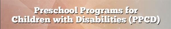 School Programs with Disabilities