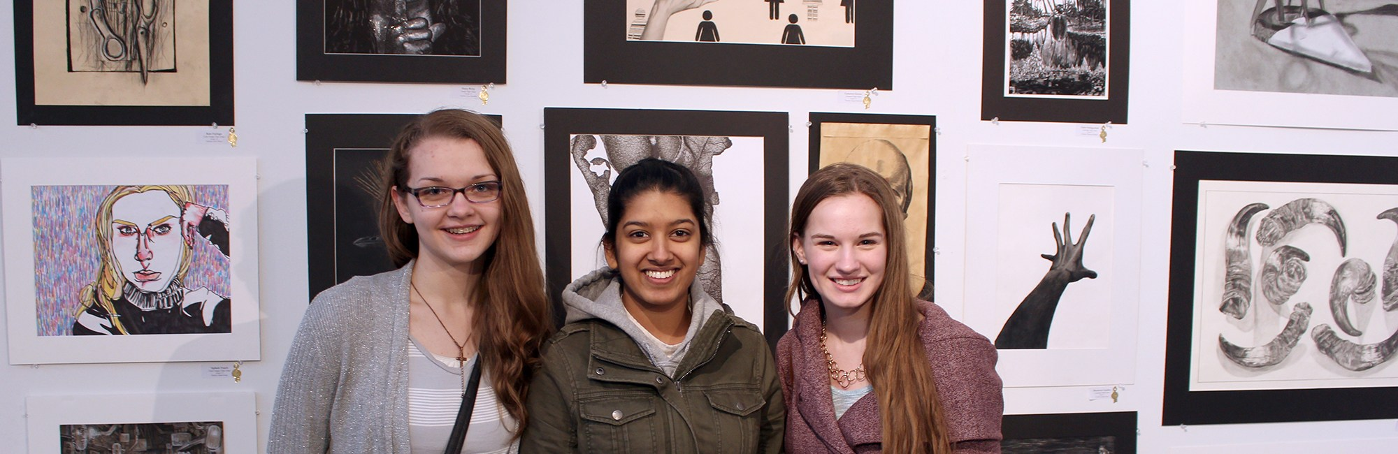 Students at the Scholastic Art Show in Portland