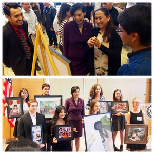 Judy Chu with SPHS Art Students & their artwork