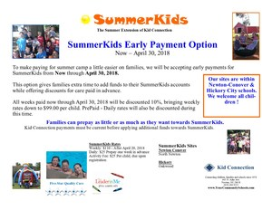 SummerKids Prepaid discount until April 30th 2018