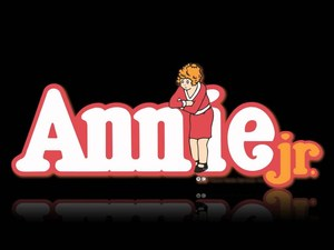 Cartoon Annie in red dress with title Annie Jr.