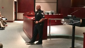 Bakersfield Police Sergeant sharing life story with students.