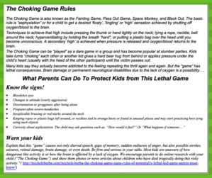 Choking Game information