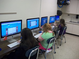Students working in the computer lab.