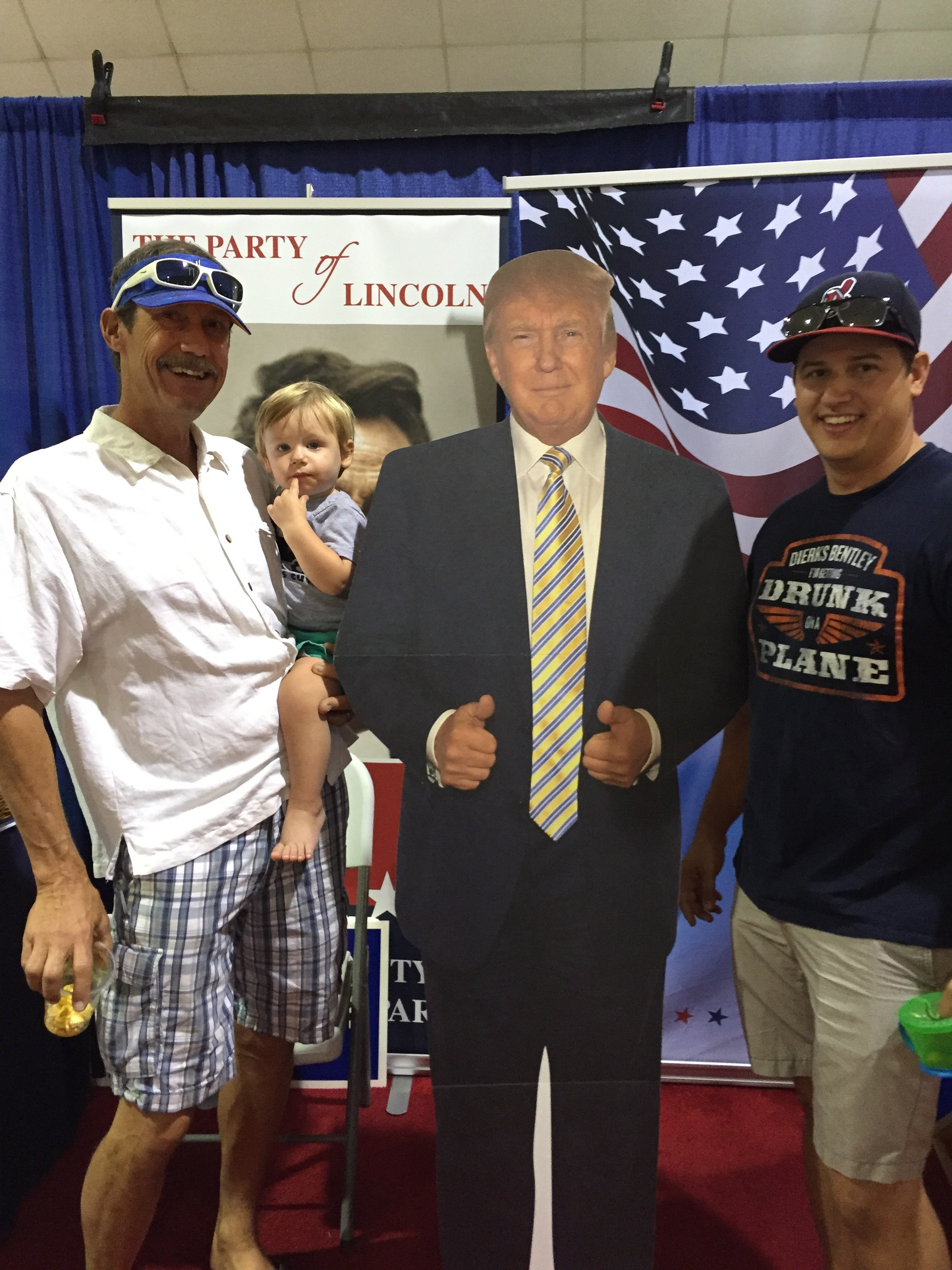With my grandson and poster of President Trump