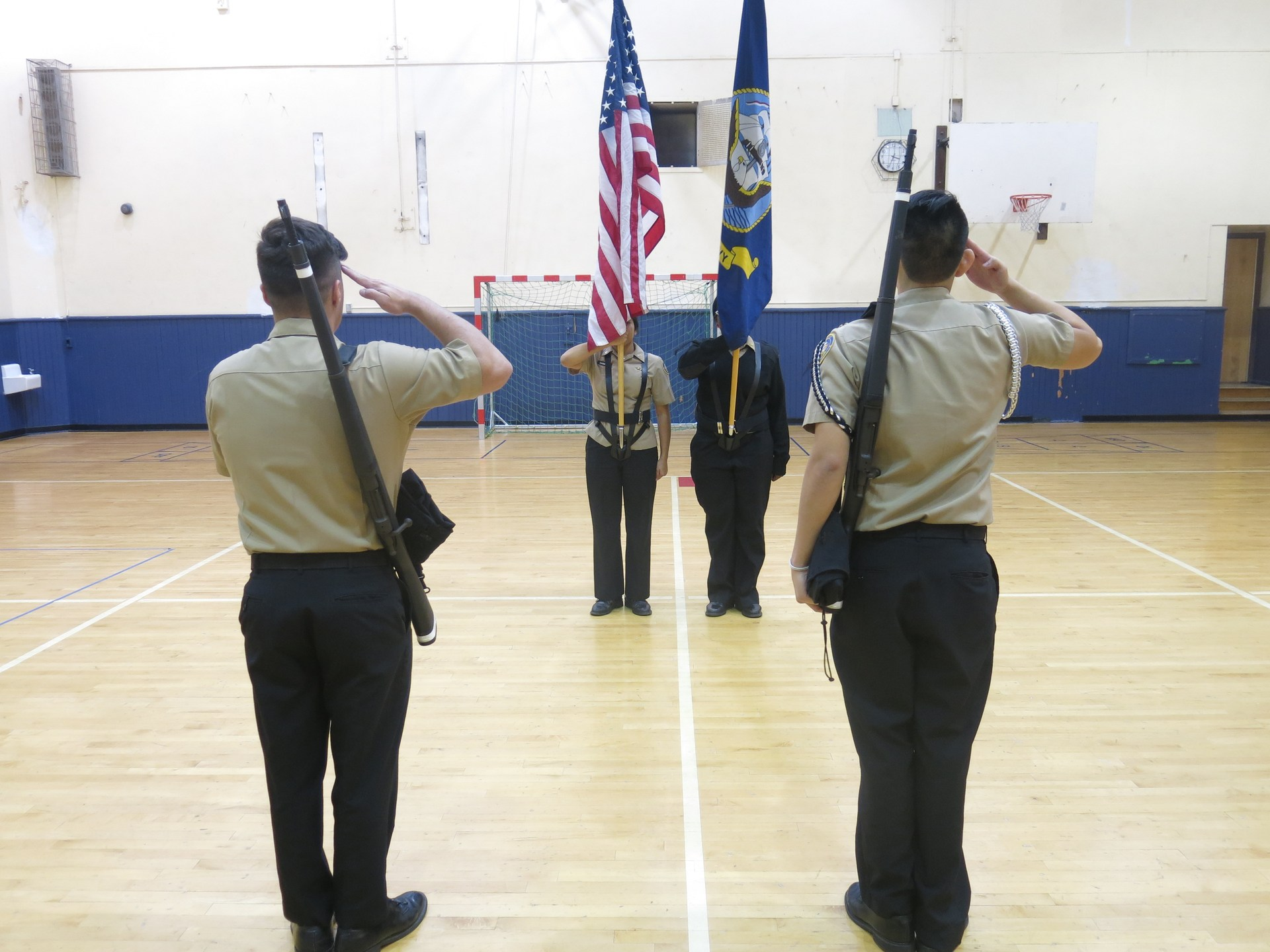 Color Guard competing at a drill competition