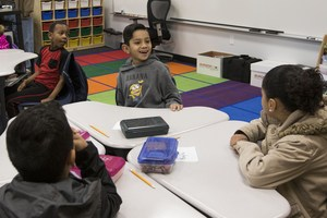 Edgemont Elementary students in new classroom