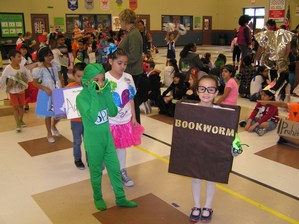 Students in the vocabulary parade.