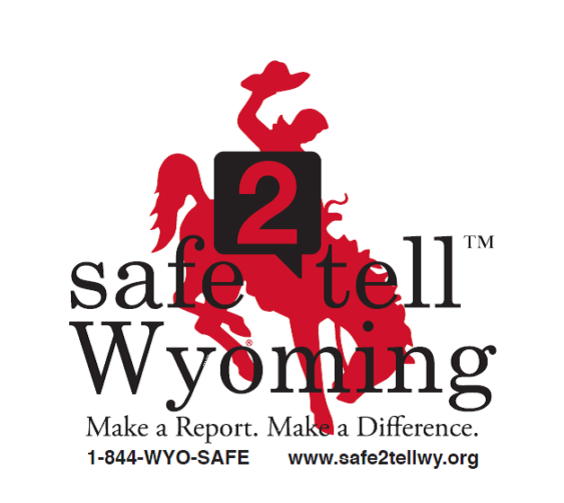logo red bucking horse with words Safe 2 Tell Wyoming