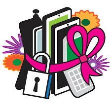 Electronic Devices Wrapped in a Pink Ribbon with a Lock