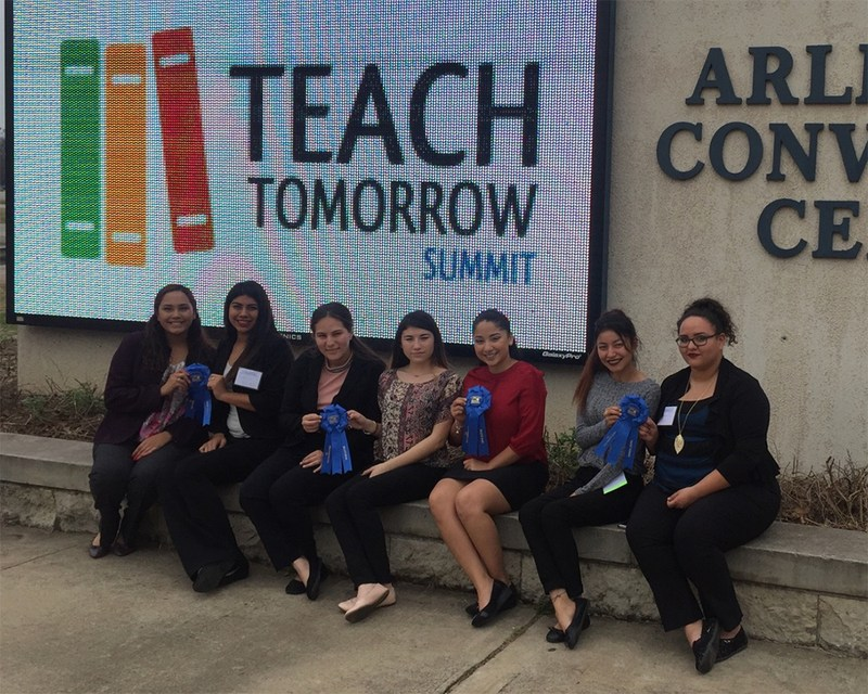 The Teach Tomorrow blue ribbon winners pictured with their ribbons