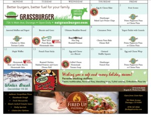 Screenshot of the 9-R meal calendar showing that month's meals and advertisements from local sponsors.