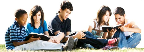 Junior high students reading
