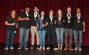Hemet High's Academic Decathlon team with their trophy.