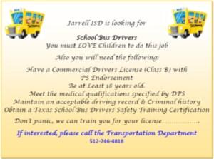 Flyer needing school bus drivers.