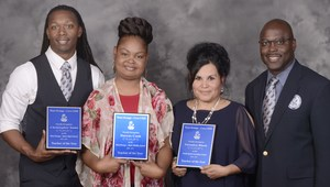 Teachers of the year are Christopher Sams, Darcus Cook, and Veronica Block. They are pictured with Superintendent Rickie Harris.